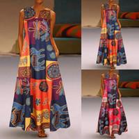 Marchwind ماركة مصمم النساء اللباس زائد الحجم طباعة يوميا عارضة أكمام خمر البوهيمي الخامس الرقبة فستان ماكسي الإناث الأزياء vestidos