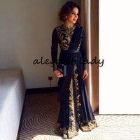 Caftano marocchino Robe de Soiree Abiti convenzionali con manica lunga 2019 ASO ASO EBI navy Blue Blue Gold Lace Applique Arabic Prom Gown