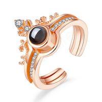Anello di proiezione 100 Lingue ti amo romantico amore Memoria Anello di nozze rimovibile anelli di coppia staccabile con favore del partito LJJA3720