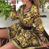 Glamaker Sexy paisley vintage print gold dress Women v neck ...