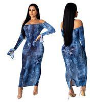 Slash Neck Femmes Robes Denim Trou du Club Sexy Slim Fractionnement Ruffle manches Robes moulante Femmes Robes de soirée Mode