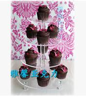 高洗練された4層アクリルカップケーキスタンドケーキトッパーデコレーション