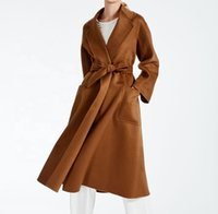 Hohe Straße Winter doppelseitige slim fit elegant Frauen Trenchcoat lange Kaschmirwolljacke Dame 100% Australien Wollmantel