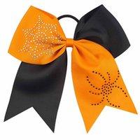 """8pcs / lot 7 """"Halloween cheerful bow patchwork nastro per ragazze ragnatela rhinestone elastico elasticizzare accessori per capelli accessori per capelli"""
