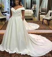 Плюс Размер 2019 Свадебные платья с карманом Атласная кепка Рукава Кнопка на задней крышке Свадебные A Line Pleats Sweep Поезд Свадебные платья