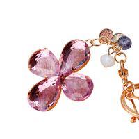 Branelli di cristallo Catene chiave Anelli di gioielli Acrilico Charms Flower Trifover Portachiavi imitazione perla borsa auto portachiavi per donne ragazze regalo