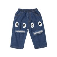 Toddler Kids Baby Boys Girls Cartoon Eyes Print Denim Bottom...