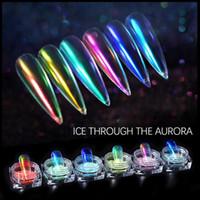 Ice Durch Nude Aurora Puder-Nagel-Kunst-Flash Magic Color Nail Powder Spiegel-Nagel-Kunst-Funkeln-Puder