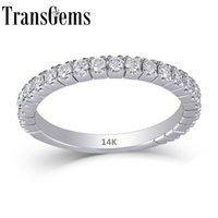 Transgems 14k белое золото 585 0.48ctw 1.9mm Ширина полосы 1.7mm Муассанит Половина Вечность обручальное кольцо стекируемые диапазона для женщин Y19032201