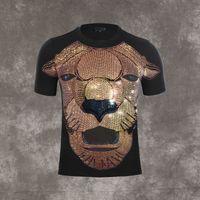 Personality Strass Lion Kurzarm Rundhals T-Shirt für Herren Designer Marken-Hemd Tops Sommer-beiläufige
