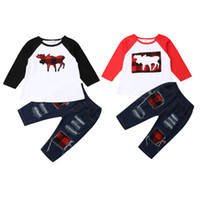 Focusnorm Neugeborene Kinder Baby Weihnachtskleidung Langarm Reindeer Tops Patchwork-Denim-Hosen Jeans Herbst Outfits Kleidung