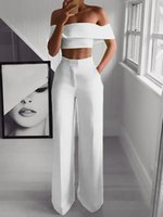 2 Piece Set Women Solid Off the Shoulder Crop Top and Pants ...
