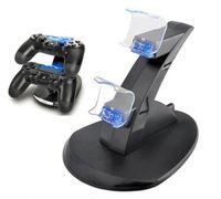 Controlador Charger Doca LED duplo PS4 USB Suporte de carga Station Cradle para Sony Playstation 4 PS4 / PS4 Pro / 1pcs PS4 Magro Controlador