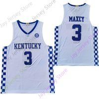 2020 새로운 NCAA 켄터키 와일드 캣 유니폼 3 맥시 대학 농구 뉴저지 화이트 블루 사이즈 청소년 성인