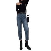 Frauen arbeiten heißen Verkauf-lose Jeans Weinlese Gerade Hose mit hohen Hüfte Cuffs Gewaschene Female beiläufige Jeans