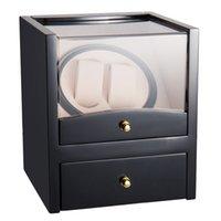 US Stock Klocka Winder Display Box Automatisk rotation Storage 2 galler Träfodral med PU Läder Smyckeskrin