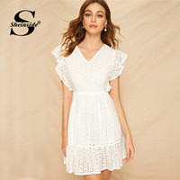 Sheinside White Eyelet Embroidered Ruffle Frill Dress Women ...