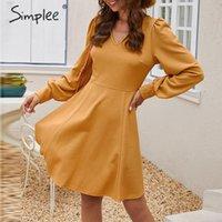 Simplee Şık gevşek kısa parti elbise Streetwear Lantern kayış katı sarı elbise V yaka ofis bayan sonbahar şık çalışma