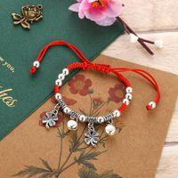 Nudos hechos a mano Pulsera de cuerda roja Tibetano trenzado rojo cuerda buena suerte encantos pulseras hombres y mujeres afortunado pulsera