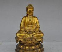 "8 ""cinese tibet buddismo ottone rame loto sakyamuni statua di buddha Tathagata"