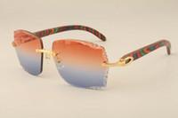 Nueva fábrica de las gafas de sol de lujo directa 3524014 patrón de color natural de las gafas de sol de madera lente grabado, privado personalizado, grabado