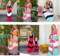 Yaz Elbise Yelek Kolsuz Elbiseler anne kızı Kıyafet Ebeveyn-çocuk Elbise Renk Çizgili Patchwork Maxi Elbiseler Uzun Etek D61703