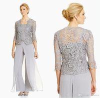 Elegante Frauen Abend Mutter der Braut Hose Anzüge 3 Stück plus Größe Bräutigam Mutter Chiffon Hose Outdoor Outdoor-Hose mit Spitzenjacke