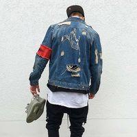 Jaquetas masculinas Jean Streetwear Hip Hop Bomber Jaqueta Denim Homens Marca rasgada Casual Moda Casaco