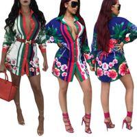 Polyester Frauen Casual Kleider Lose langärmelige T-shirt Kleider Mode Sexy Blumen Druck Hemd Kleid Club Bandage Strickjacke Kleid Trend