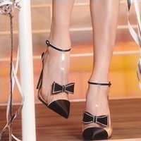 Milan fashion show black bowtie pointed toe designer pumps h...