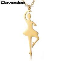 Davieslee Danza Balletto Girl Collana per la catena Donne Oro Argento Acciaio inossidabile Rolo link Womens Collane LKNM152