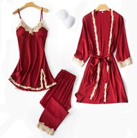 Sexy 3PC Pajamas Set Women V- Neck Cami Nighties Wear Pijama ...