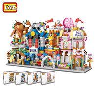 LOZ Mini Straße Modell Bauklotz Spielsaal Candy Shop Toy Store Architektur für Kinder DIY 1641-1644