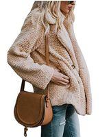 Дизайнер Женские топы стильных женщин Плюшевые Сплошной цвет куртки Кнопки Turn Down Воротник Карманный Designer Winter Coats