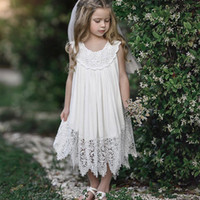 2019 Ins Sweet Baby Girl white lace dresses Beach dress Loos...