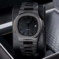 17 Mejor Estilo 40mm Nautilus 5711/1 esmerilado Negro completa para hombre reloj mecánico automático Negro Dial correa de acero esmerilado caballero relojes deportivos