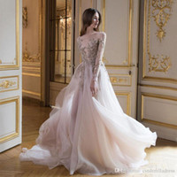 2020 Sexy Paolo Sebastian Prom Dresses With Long Sleeves Sheer Bateau Neck 3D Appliques Evening Gowns Tulle Sweep Train A-Line Formal Dress