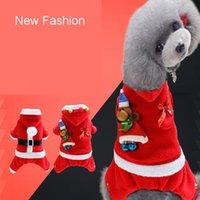 Wholesale Feliz Natal Presente Pet Dress 5 Tamanho Elk Santa Filhote de Cachorro Terno Clássico Euramerican Pet Dog Roupas de Natal Animais de Estimação Vestuário DH0309
