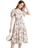 In Stock !Floral Chiffon Casual Dresses Daily Wear Summer Sh...