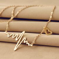 Новое прибытие Оптовая Lady Электрокардиограмма сердца ожерелье сердечного ритма ЭКГ EKG Мода Аксессуары женские украшения