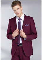 Classy Dull Red sposa abiti uomo Slim Fit sposo smoking per gli uomini Two Pieces Groomsmen abito formale commerciali Giacche (jacket + pants + vest)
