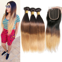 Ombre Brazilian Straight Hair Bundles With Closure 3 Bundles...