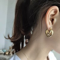 New hot ethnic bohemia multi layered circles gold color earr...