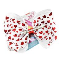 Jojo Siwa arquea las chicas del día de San Valentín se inclinan con el logo de metal forma de corazón de la forma de la horquilla Love Jojo arco de 8 pulgadas gran arco para bailar