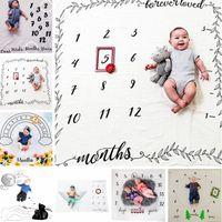 Lettre bébé imprimé fleurs Couvertures Creative douce du nouveau-né Wrap emmailloter bébé Mode Milestone Couvertures Photographie Backdrops TTA771