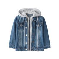 Frühling und Herbst neu Kinderkleidung Junge Junge gewaschen weicher Cowboy Mantel mit Kapuze Jacke Jeans Großhandel Großhandelsgeschäft