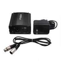48V فانتوم مزود الطاقة مع كابل الصوت XLR واحد ومحول الولايات المتحدة في المملكة المتحدة AC220V للمكثف تسجيل صوتي استوديو الموسيقى ميكروفون