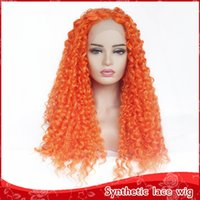 Fast Shipping Cosplay Orange Wig Heat Resistant Synthetic La...