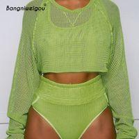 51221d8e6a2 Wholesale summer smock tops online - Bangniweigou Summer Sunscreen Mesh  Crop Top Women Long Sleeve Fishnet