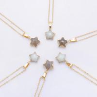 Pentagram Sternkette Halskette Rosa Kristall Chakra Natürliche Stein Vergoldung Geode Druzy Quarz Anhänger DIY Halskette Schmuck
